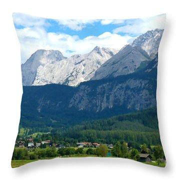 German Alps - Digital Painting Throw Pillow by Carol Groenen