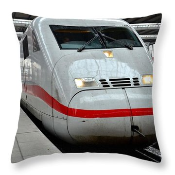 German Ice Intercity Bullet Train Munich Germany Throw Pillow