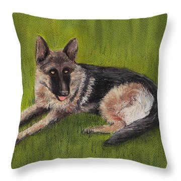 German Shepherd Throw Pillow by Anastasiya Malakhova