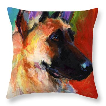 German Shepherd Dog Portrait Throw Pillow