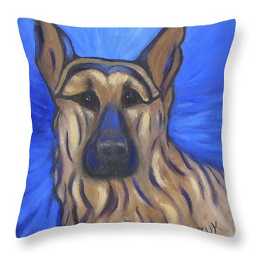 Throw Pillow featuring the painting German Shepherd by Karen Zuk Rosenblatt