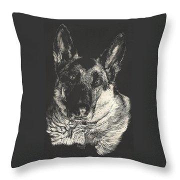 Throw Pillow featuring the drawing German Shepherd by Rachel Hames