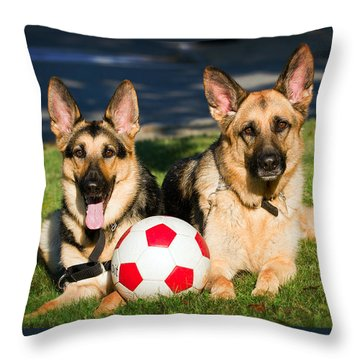Throw Pillow featuring the photograph German Shepherd Sisters by Eleanor Abramson