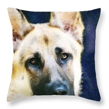 German Shepherd - Soul Throw Pillow by Sharon Cummings
