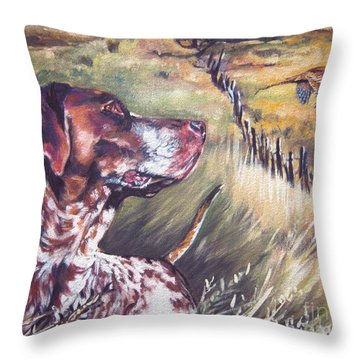 German Shorthaired Pointer And Pheasants Throw Pillow by Lee Ann Shepard