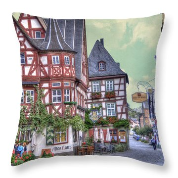 German Village Along Rhine River Throw Pillow