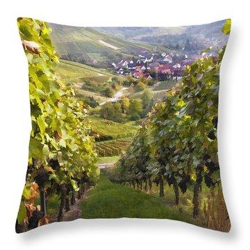 German Vineyard Throw Pillow by Sharon Foster
