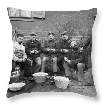 Germans Peeling Potatoes Throw Pillow by Underwood Archives