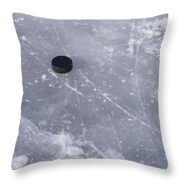 Get The Puck Outta Here Throw Pillow