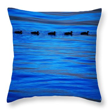 Getting Your Ducks In A Row Throw Pillow by Cynthia Lagoudakis