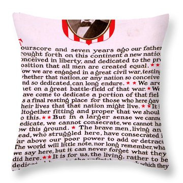 Gettysburg Address By Abraham Lincoln  Throw Pillow