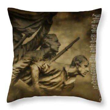 Gettysburg Address With North Carolina Monument Throw Pillow