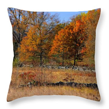 Gettysburg At Rest - Autumn Looking Towards The J. Weikert Farm Throw Pillow by Michael Mazaika