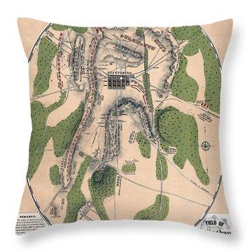 Gettysburg Battle Map 1863 - Civil War Throw Pillow