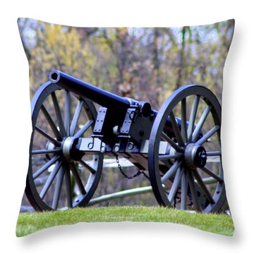 Gettysburg Battlefield Cannon Throw Pillow by Patti Whitten