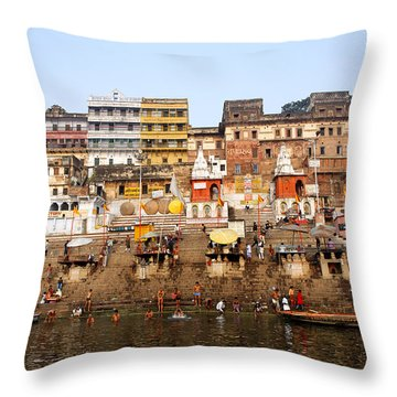 Ghats In The River Ganges At Varanasi In India Throw Pillow by Robert Preston