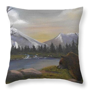 Ghost Bear-the Cascade Grizzly Throw Pillow by Sheri Keith