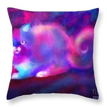 Ghost Cat 2 Throw Pillow by Nick Gustafson