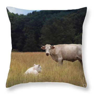 Ghost Cow And Calf Throw Pillow