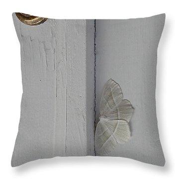 Ghost Doorbell Moth Throw Pillow