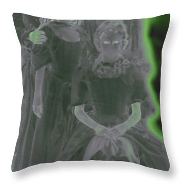 Ghost Family Portrait Throw Pillow by First Star Art