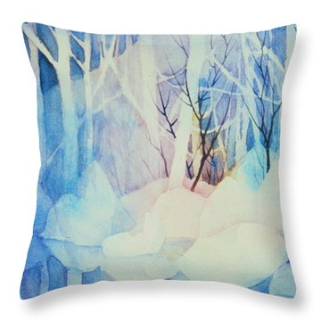 Throw Pillow featuring the painting Ghost Forest by Teresa Ascone