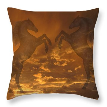 Ghost Horses At Sunset Throw Pillow