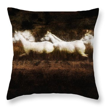 Throw Pillow featuring the photograph Ghost Horses by Karen Slagle