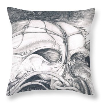 Throw Pillow featuring the drawing Ghost In The Machine by Otto Rapp