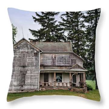 Ghost Manor Throw Pillow by Pamela Baker