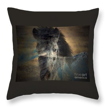 Throw Pillow featuring the photograph Ghost Pony by Irma BACKELANT GALLERIES