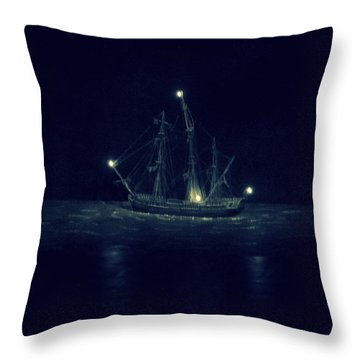 Ghost Ship Throw Pillow by Laurie Perry