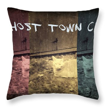Ghost Town Cat Throw Pillow by Absinthe Art By Michelle LeAnn Scott
