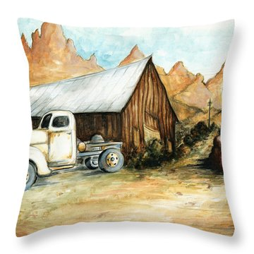 Ghost Town Nevada - Western Art Painting Throw Pillow