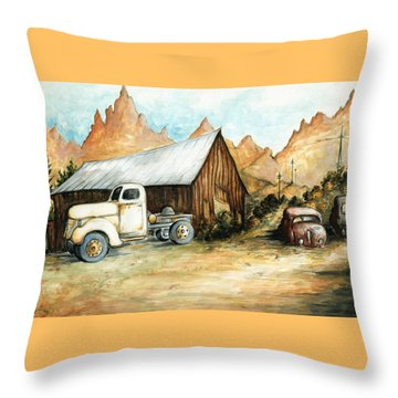Ghost Town Nevada - Western Art Throw Pillow