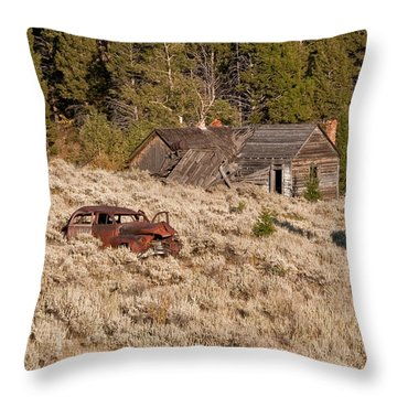 Ghost Town Remains Throw Pillow by Sue Smith
