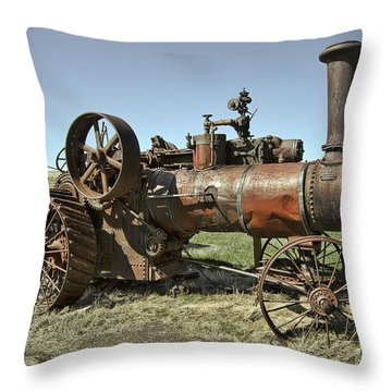 Ghost Town Steam Tractor Throw Pillow by Daniel Hagerman