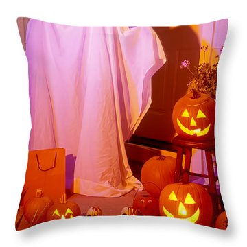 Ghost With Pumpkins Throw Pillow by Garry Gay