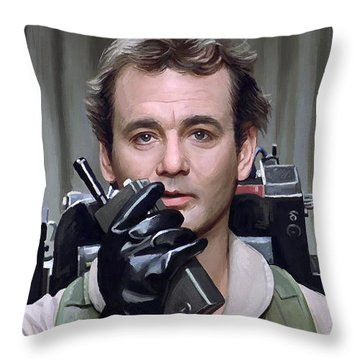 Throw Pillow featuring the painting Ghostbusters - Bill Murray Artwork 1 by Sheraz A