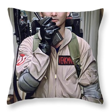 Throw Pillow featuring the painting Ghostbusters - Bill Murray Artwork 2 by Sheraz A