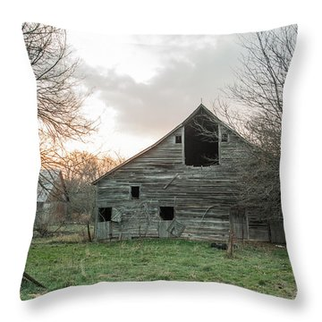 Ghostly Barn Throw Pillow