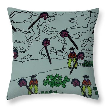Throw Pillow featuring the mixed media Ghostriders by Erika Chamberlin