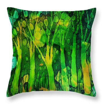 Throw Pillow featuring the painting Ghosty Forest by Angela Treat Lyon