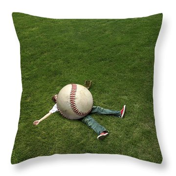 Giant Baseball Throw Pillow by Diane Diederich