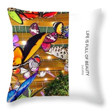 Giant Butterfly Statues Floating Throw Pillow