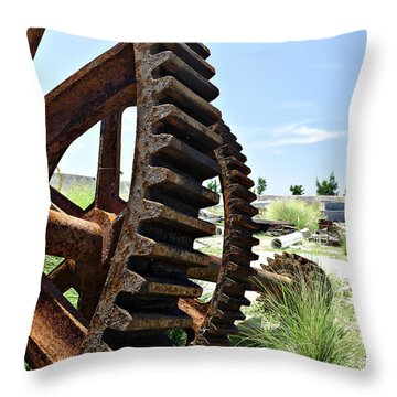 Giant Cog Throw Pillow by Richard Reeve