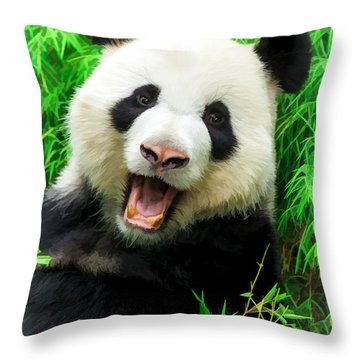 Giant Panda Laughing Throw Pillow