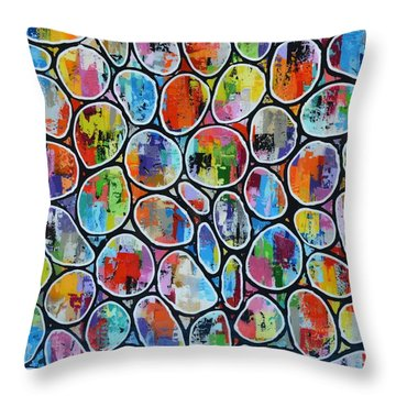 Giant Rainbow Bubbles Throw Pillow