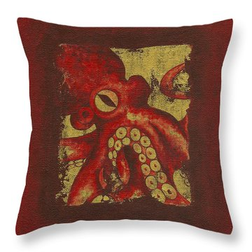 Giant Red Octopus Throw Pillow
