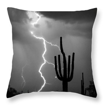 Giant Saguaro Cactus Lightning Strike Bw Throw Pillow